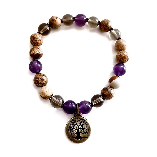 Amethyst, Smoky Quartz and Picture Jasper Bracelet with Tree of Life Charm