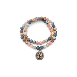 Blue Sponge Coral, Kiwi Jasper, Sunstone, Plum and Picture Jasper Bracelet