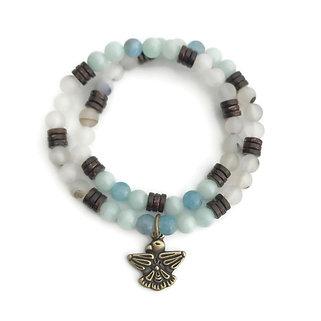 Aquamarine, Amazonite, Coconut Shell and Montana Agate Double Wrap Bracelet
