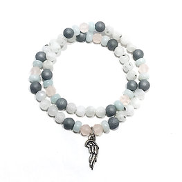 Faceted Rose Quartz, Amazonite, Silvery Druzy Agate and Rainbow Moonstone