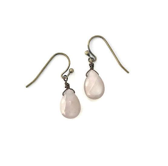 Peach Moonstone Drop Earrings