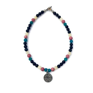 Apatite, Rhodonite, Yellow Calcite and Onyx Anklet with Compass Charm