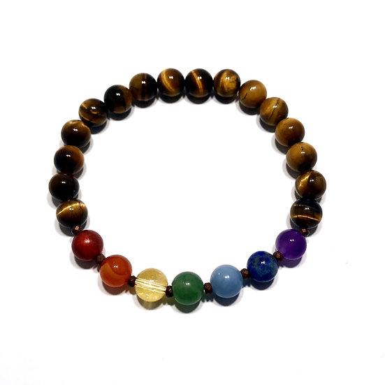 7 Chakra Bracelet with Tigers Eye and Hematite