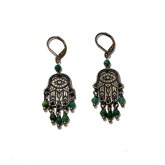 Green Tourmaline Hamsa Earrings