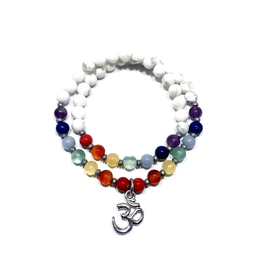 7 Chakra Double Wrap Bracelet with Howlite, Hematite and an Om Charm