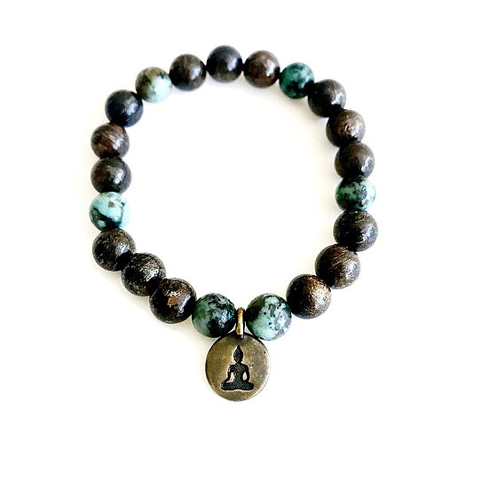 African Turquoise and Bronzite Bracelet with Buddha Charm