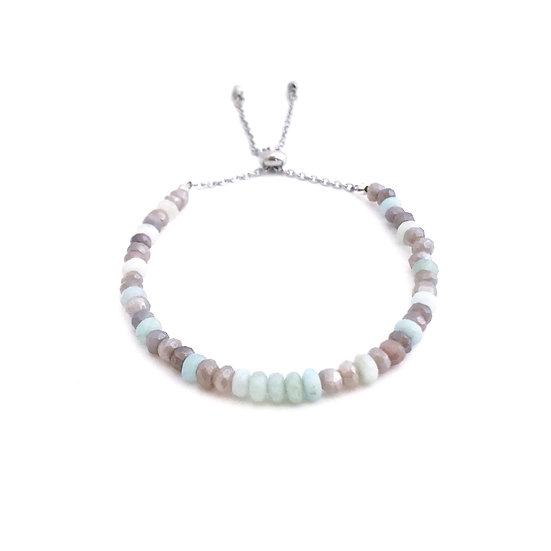 Mystic Moonstone and Amazonite Adjustable Mini Gemstone Bracelet