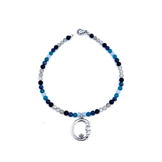 Angelite, Apatite Sodalite, Onyx and Labradorite Anklet with Moon Charm