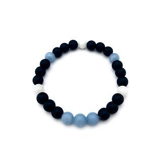 Rainbow Moonstone, Angelite and Onyx Bracelet