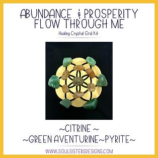 Abundance and Prosperity Flow Through Me Healing Crystal Grid Kit