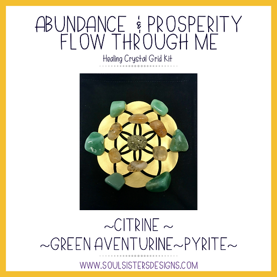 Abundance and Prosperity Flow Through Me Healing Crystal Grid Kit