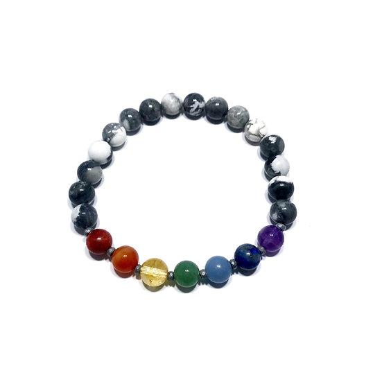 7 Chakras Bracelet with Hematite and Howlite