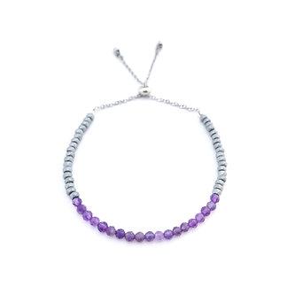 Amethyst and Hematite Adjustable Mini Gemstone Bracelet