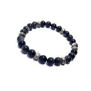 Silver Sheen Obsidian and Pyrite Bracelet