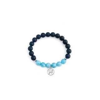 Pisces Bracelet with Aquamarine, Hematite and Onyx