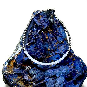 Blue Lace Agate and Hematite Adjustable Mini Gemstone Bracelet