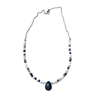 Dendritic Agate Beaded Necklace with Dumortierite Pendant