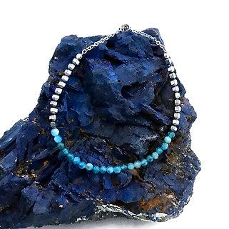 Diamond Cut Apatite and Faceted Hematite Adjustable Mini Gemstone Bracelet