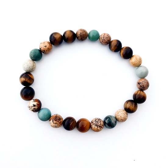 Chrysocolla, Picture Jasper and Tigers Eye Bracelet