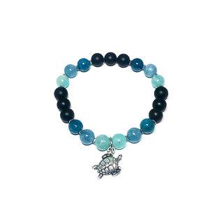 Amazonite, Aquamarine, Apatite, Hematite and Onyx Bracelet with Sea Turtle Charm