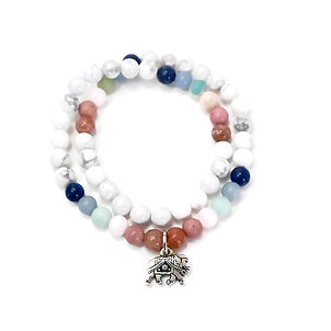 Plum Blossom, Rhodonite, Mangano, Amazonite, Angelite and Sodalite Bracelet