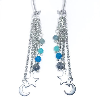 Mystic Aquamarine, Amazonite, Apatite and Mystic Norwegian Moonstone Earrings