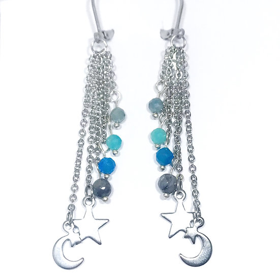 Mystic Aquamarine, Amazonite, Apatite and Mystic Norwegian Moonstone Earrings