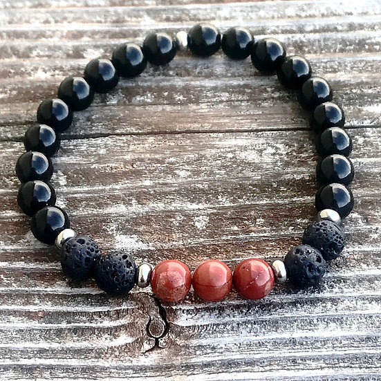 Element Fire Men's Bracelet with Obsidian, Lava Stone and Red Jasper