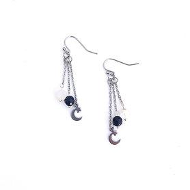 Rainbow Moonstone, Blue Goldstone and Moon and Stars Dangle Earrings