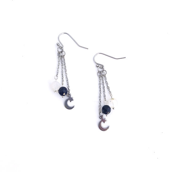 Rainbow Moonstone, Blue Goldstone and Moon and Stars Dangle Earrings