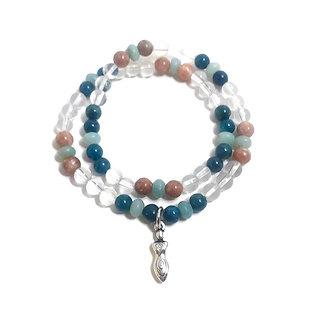 Apatite, Amazonite, Plum Blossom Jasper and Quartz Double Wrap Bracelet