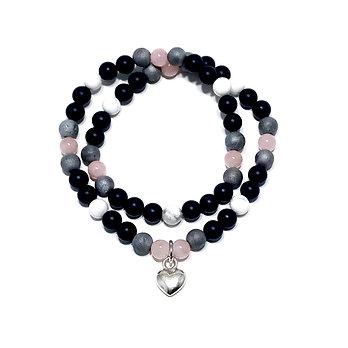 Rose Quartz, Silver Druzy Agate, Howlite and Onyx Bracelet with Heart Charm