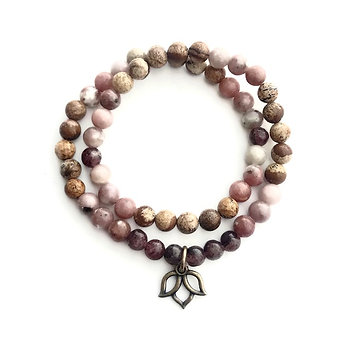 Lepidolite, Plum Blossom and Picture Jasper Double Wrap Bracelet with Lotus