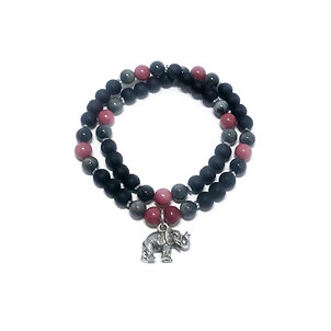 Rhodonite, Eagle Eye, Hematite and Onyx Double Wrap Bracelet with Elephant Charm