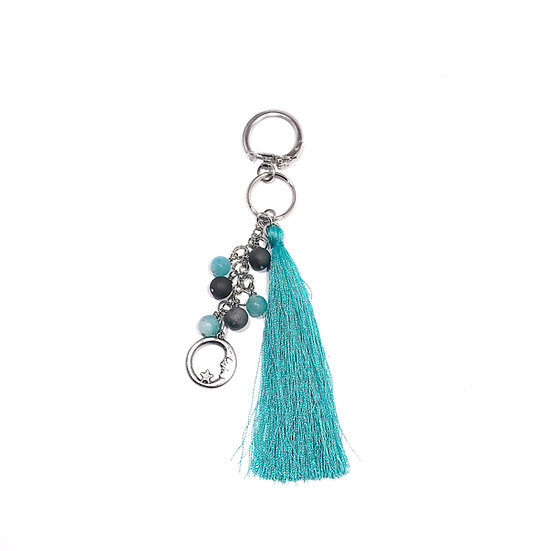 Amazonite and Silver Druzy Agate Tassel Keychain with Moon Charm