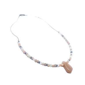 Faceted Multi Color Moonstone Beaded Necklace with Peach Moonstone Pendant