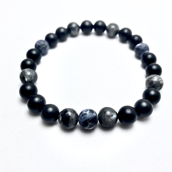 Matte Black Onyx, Sodalite and Norwegian Moonstone Bracelet