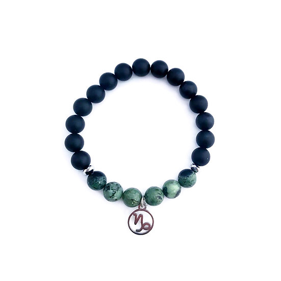 Capricorn Bracelet with African Turquoise, Hematite and Onyx