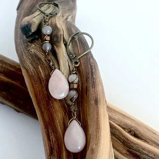Peach Moonstone Teardrops with Hematite and Moonstone Earrings