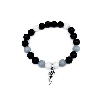 Rainbow Moonstone, Angelite and Onyx Bracelet with Angel Wing Charm