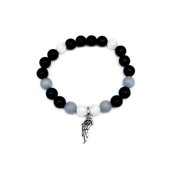 Rainbow Moonstone, Angelite and Onyx Bracelet with Angel Wing Charm