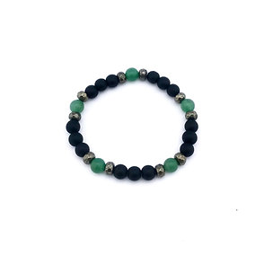 Green Aventurine, Pyrite and Onyx Men's Abundance Bracelet