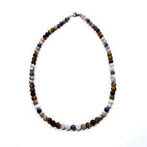 Sunset Dumortierite, Smoky Dendritic Agate and Tigers Eye Men's Necklace
