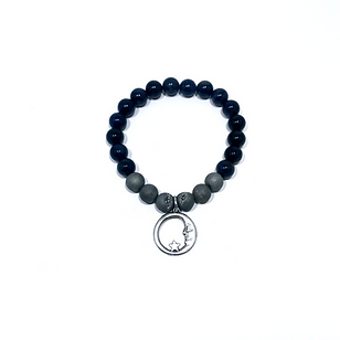 Silver Druzy Agate and Dumortierite Bracelet with Moon Charm