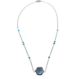 Apatite and Amazonite Necklace with Black Tourmaline Pendant