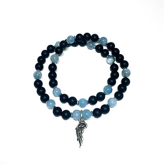 Aquamarine, Hematite and Onyx Double Wrap Bracelet with Angel Wing Charm