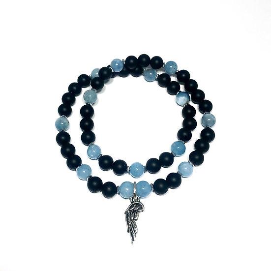 Aquamarine, Hematite and Onyx Double Wrap Bracelet with Angel Wing Charm