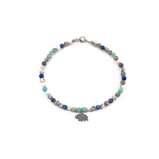 Amazonite, Sodalite, Lepidolite and Smoky Dendritic Agate Anklet