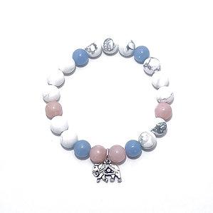 Pink Opal, Angelite and Howlite Bracelet with Elephant Charm