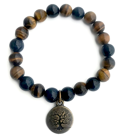 Dumortierite and Tigers Eye Bracelet with Tree of Life Charm